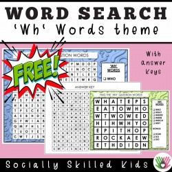 'Wh' Questions Word Search | Freebie
