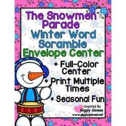 The Snowmen Parade Winter Word Scramble Envelope Center