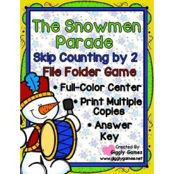 The Snowman Parade Skip Counting by 2 File Folder Game