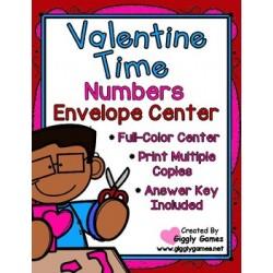 Valentine Time Numbers Envelope Center