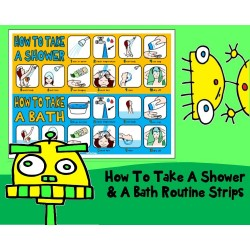 HOW TO TAKE A SHOWER AND BATH VISUAL ROUTINE SET