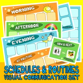 DAILY PICTURE SCHEDULES : Routines & Choices Set with 120 PECs Cards ... visual aide autism special education aac asd pdd