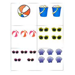 File Folder Activity Numeral to Quantity 1-10 (Beach Theme)