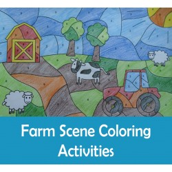 Farm Color by Numbers Cut Paste Count Draw Summer Activities