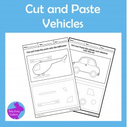 Cut and Paste Transportation Vehicles Fine Motor Skills Activity
