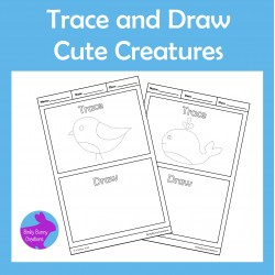 Trace and Draw Cute Creatures Fine Motor Skills Activity