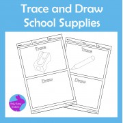 Trace and Draw School Supplies Fine Motor Skills Activity
