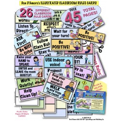 Classroom Rules Sign! 26 Big Cards! 2 SIZE OPTIONS With COLORFUL ILLUSTRATIONS!