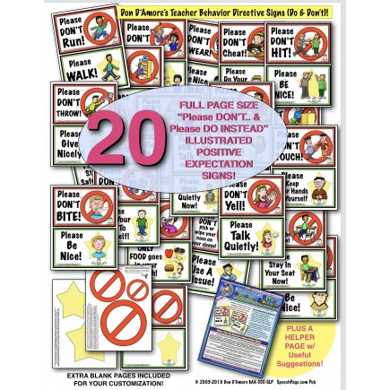 BEHAVIOR EXPECTATION SIGN PAIRS!: DO's & DON'Ts! 20 DOUBLE ILLUSTRATED SIGNS!