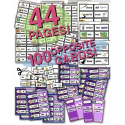 100 Illustrated Opposites Cards! (50 pairs) & Reveal Activity! 44 PAGES!