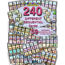 SEQUENTIAL PICTURE CARDS MEGA PACK! 240 DIFFERENT CARDS! 59 SEQUENCES of 4-CARDS EACH!!