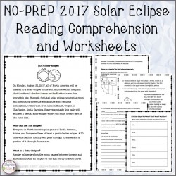 NO PREP 2017 Solar Eclipse Reading Comprehension and Worksheets