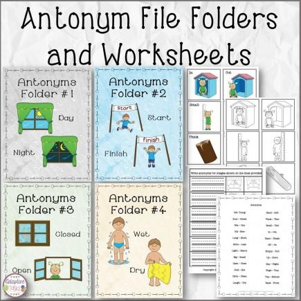 Antonym File Folders and Worksheets