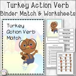 Turkey Action Verb Binder Match and Worksheets