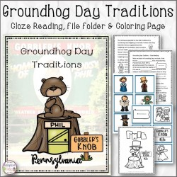 Groundhog Day Cloze Reading, File Folder and Coloring page