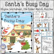 Santa's Busy Day Rhyme, Worksheet, File Folders and Puzzles