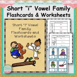 "Short ""i"" Vowel Family Flashcards and Worksheets"
