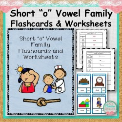 """Short """"o"""" Vowel Family Flashcards and Worksheets"""