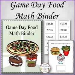 Game Day Food Math Binder