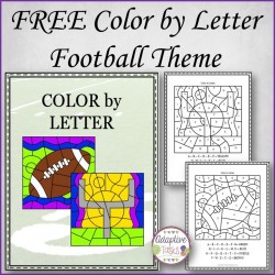 FREE COLOR by LETTER Football Theme