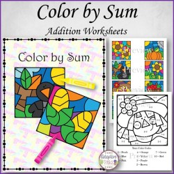 Color by Sum Addition Worksheets