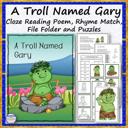 A Troll Named Gary Cloze Reading Poem and Activities