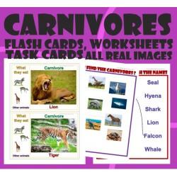 Carnivores Herbivores Omnivores Bundle-Flash Task cards, Worksheets-Real Images