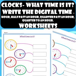 Clocks-What time is it?- Worksheets–  Hour, Half past an hour, Quarter past an hour, Quarter to an hour
