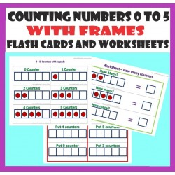 Counting 0 to 5 with frames – Flashcards and Worksheets