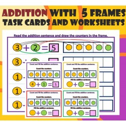 Addition with 5 Frames– Task cards and Worksheets Activities