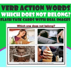 Verb / Actions- Which one does not belong? - Flash-Task cards with Real Images