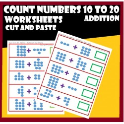 Count Numbers - 10 to 20 – Addition – Cut and Paste Worksheets