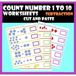 Count  numbers 1 to 10 – Subtraction– Cut and Paste Worksheets