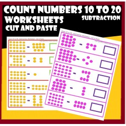 Count numbers 10 to 20 – Subtraction– Cut and Paste Worksheets