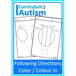 Following Directions Color / Color In Worksheets