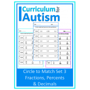 Fractions, Percents & Decimals, Circle to Match Worksheets