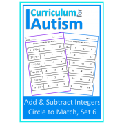 Addition & Subtraction of Integers, Circle To Match Worksheets