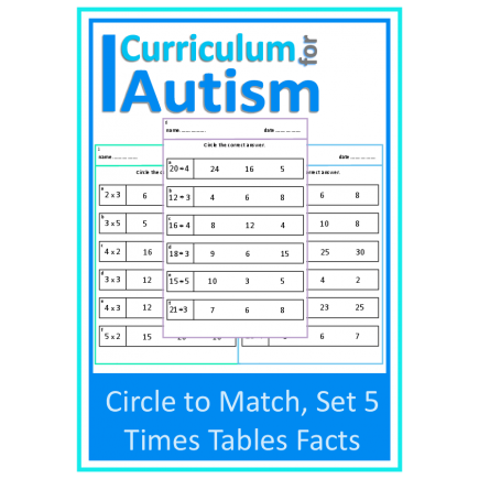 Times Tables Facts Multiply & Divide Circle to Match Worksheets