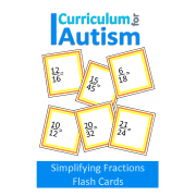 Simplifying Fractions Math Flash Cards