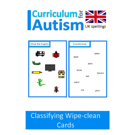Classifying Skills Write and Wipe Cards - UK version