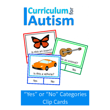 Yes No Categories Clip Cards, Speech Therapy