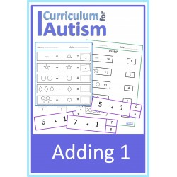 Adding 1 cards & worksheets set