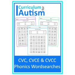 CVC, CVCe & CVCC Phonics Word Search Puzzles