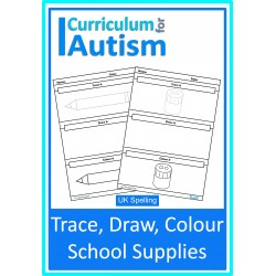 School Supplies Trace Draw & Colour (UK Spelling)