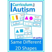 Same Different 2D Shapes Visual Discrimination Cards -UK Spelling