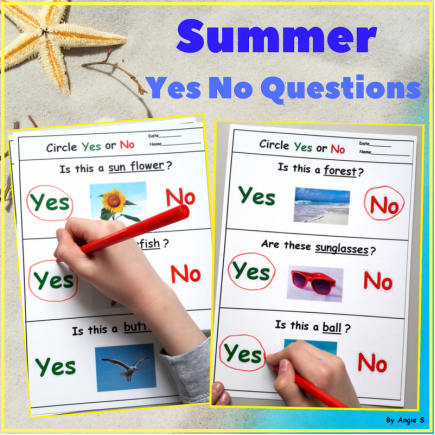 Print and Go Summer Yes No Questions Worksheets