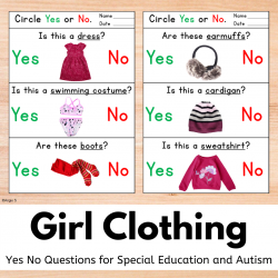 Girl Clothing Yes No Questions Worksheets Print and Go