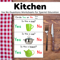 Kitchen Yes No Questions for Speech Therapy Print and Go
