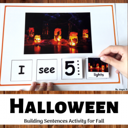 Halloween Building Sentences Activity for Speech Therapy