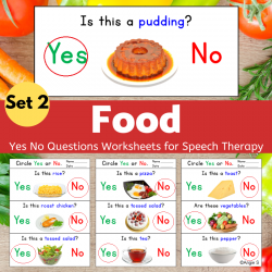 Food Print and Go Yes No Questions Speech Therapy Worksheets Set 2